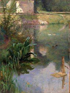 Eliphalet Frazer Andrews (American artist, 1835-1915) Margin of a Moat