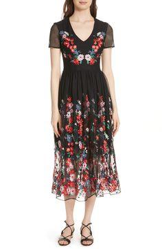 Raphael Embroidered Midi Dress,                         Main,                         color, Black 210