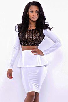 White Peplum Skirt Set with Black Fish Net Top