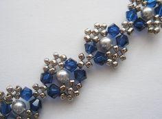 Beaded Bracelet Pattern Tutorial Blue Silver Pearl Metal