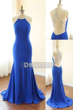 Blue high neck sequin mermaid long prom dress, blue evening dress