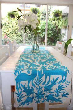 Turquoise Otomi table runner