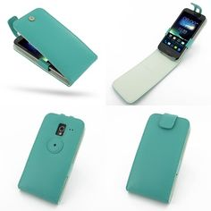 PDair Leather Case for Asus PadFone 2 - Flip Top Type (Aqua)