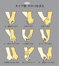 "aedantynnan: "" wasashoot: "" Different ways to hold hands ""各CPでこのつなぎ方どれか知りたい。"" @haku_origi_bl (Twitter) "" Number eight just looks aggressive! """