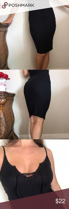 Topshop little black dress Little black dress by Topshop 🍒 has a lace up tie & fits like a dream. Topshop Dresses
