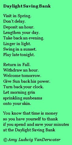 A poem for Daylight Saving Time from The Poem Farm, Amy Ludwig VanDerwater's ad-free, searchable blog full of hundreds of poems and poem ideas for home and classroom - www.poemfarm.amylv.com