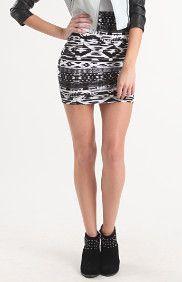 Black White Tribal Body Con Skirt