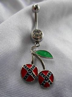 Rebel Flag Cherries Belly Button Ring Stainless Steel 14 Guage