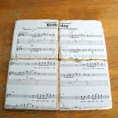 I LOVE the idea of coasters with sheet music.great idea for music studio decor! Sheet Music Crafts, Music Paper, Music Studio Decor, Music Decor, Craft Gifts, Diy Gifts, Beatles Birthday, Favorite Christmas Songs, Old Music