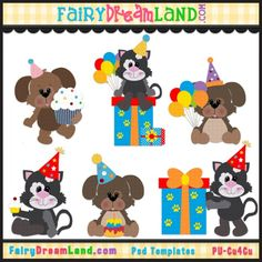 Birthday Cats and Dogs CU Template Collection by FairyDreamLand.com
