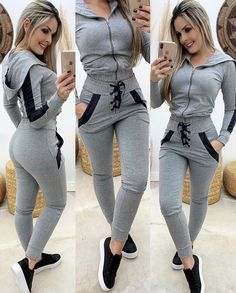 Image may contain: 2 people, people standing and shoes Sporty Outfits, Trendy Outfits, Sexy Outfits, Grey Sports Leggings, Sweatpants Outfit, Clothes 2019, Girl Fashion, Fashion Outfits, Sporty Look