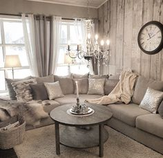 Rustic glam living room decor ideas monochromatic interior design home on glamour thank you for the Shabby Chic Living Room, Cozy Living Rooms, Home Living Room, Living Room Designs, Living Room Decor, Curtain Ideas For Living Room, Shabby Chic Lounge, Living Room Inspiration, Home Decor Inspiration