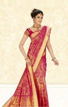 kanchipuram silk saree bridal red - Google Search