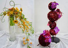modern flower arrangements - love the ball idea