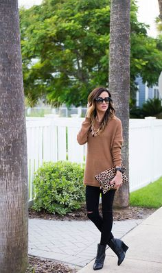 CAMEL SWEATER + LEOPARD DETAILS | Sequins & Things