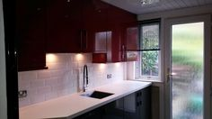 A picture taken from one of the kitchens we recently fitted. We love the red and black gloss cabinets in combination! Gloss Kitchen, Kitchen Cabinets, Free Kitchen Design, Kitchen Installation, Glasgow, Appliances, Kitchen Ideas, Kitchens, Red