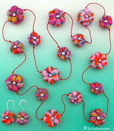 Fabric Necklace Earrings Tutorial Pattern  - Succulent Flower Necklace Set by La Todera