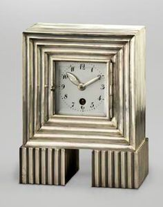 Josef Hoffmann: Clock (Alpaca Mantel Clock), c. 1910-1912, Executed by Wiener Werkstätte