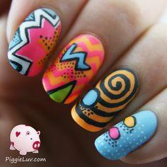 Crazy neon twin nails nail art by Narmai - Nailpolis: Museum of Nail Art Comic Book Nails, Book Nail Art, Comic Books, Pop Art Nails, Love Nails, Pretty Nails, Crazy Nail Designs, Nail Polish Designs, Nail Art Designs