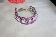 Pink can tab bracelet with  white and silver trim 18. $10.00, via Etsy.