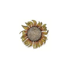 COLOURED SAPPHIRE AND BROWN DIAMOND 'SUNFLOWER' BROOCH, Michele della Valle  The whimsical sunflower set to the centre with brilliant-cut brown diamonds together weighing approximately 19.65 carats, to petals set with circular-cut yellow and orange sapphires together weighing approximately 47.75 carats, mounted in titanium and 18 karat yellow gold, signed.