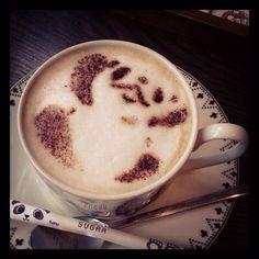 Panda at panda coffee shop.