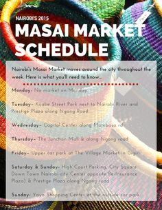 Free Printable! The 2015 schedule for the traveling Masai Market located throughout Nairobi, Kenya.