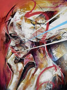 Danny O'Connor, aka DOC, is a UK-based artist whose riveting street art-style portraits incorporate a variety of mixed media Abstract Portrait Painting, Portrait Art, Painting & Drawing, Portrait Paintings, Portraits, Girl Paintings, Abstract Art, Figure Drawing, Art And Illustration