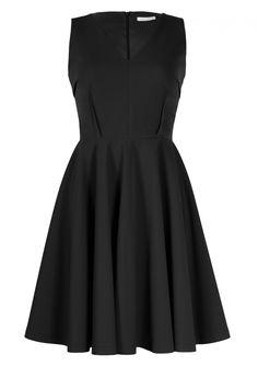 Czarna sukienka z rozkloszowanym dołem - Sklep internetowy