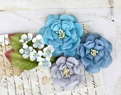 Prima Flowers Cabriole Blue Moon Flower by LayoutsFromTheHeart Paper Leaves, Paper Flowers, Glitter Flowers, Flower Crafts, Craft Flowers, Floral Hair, Blue Moon, Altered Art, Scrapbook Pages