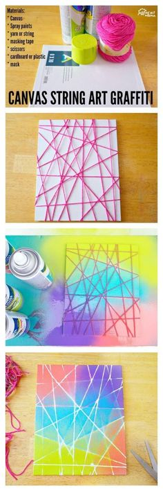 This Canvas String Art Graffiti project is fun for kids and adults alike. While … This Canvas String Art Graffiti project is fun for kids and adults alike. While this is a spray paint project, you can use alternative paints or dyes for younger children. Cute Crafts, Crafts To Do, Easy Crafts, Crafts For Kids, Kids Diy, Art Projects For Teens, Easy Projects, Teen Arts And Crafts, Crafts Cheap