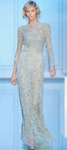 Elie Saab - lovely silhouette and inspiration for non-white bridal gown or mother of the bride (if less sheer)