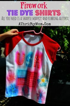 Tie dye Shirts with sharpie markers, make Fire Work shirts for the 4th of July all you need is a sharpie, and a spraybottle #TieDie, #DIY, #Crafts, #Kids