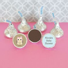"Woodland Owl Personalized Hershey's® Kisses Labels Trio (Set of 108). Offer some love and ""kisses"" to your guests with these Personalized Woodland Owl Hershey's® Kisses Labels Trio! Each set contains 108 labels with a TRIO of designs - one pattern, one icon design and one with personalized text. Apply them to the bottom of your favorite kind of Hershey's® Kisses or other candies and display them in a bowl at your special event, or package them together in small bags and present them as…"