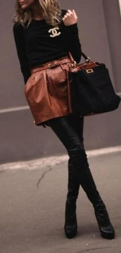 Chanel - love the black with leather cognac skirt. <3