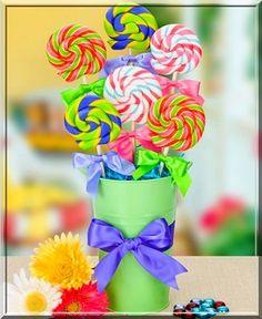 pirulitos para decoração de mesa de festa ifantil de menina