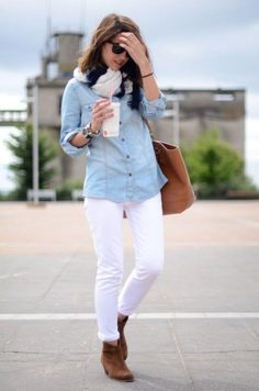 white jeans with tan ankle boot, How to style your ankle boots this fall http://www.justtrendygirls.com/how-to-style-your-ankle-boots-this-fall/