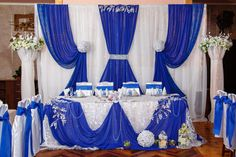Next church decoration Backdrop Decorations, Decoration Table, Reception Decorations, Event Decor, Royal Blue Wedding Decorations, Wedding Colors, Christening Invitations Boy, Head Table Wedding, Wedding Reception Backdrop