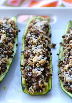 Stuffed Zucchini with lentils and mushrooms