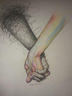 Image via We Heart It #art #color #deep #draw #hands #love #paint #scribble