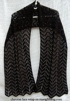 chevron lace wrap free crochet pattern moogly shawl scarf ripples lattice fingering thread