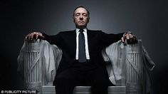 The brains of psychopaths are hardwired to be violent and dangerous, a new study has found. Pictured is anti-hero and notorious psychopath Francis Underwood from the US TV drama series House of Cards