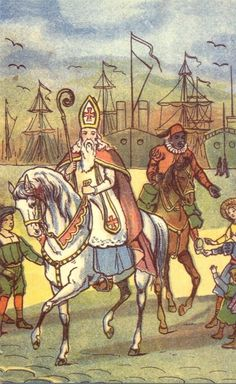 Sinterklaas - Elfen & Boeken Santa Pictures, New Amsterdam, Father Christmas, Holiday Festival, Winter Holidays, 17th Century, Vintage Images, New Day, Scandinavian