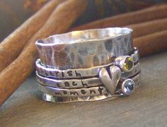 Image of Heart and stones spinner ring... sterling silver personalized hand stamped spinner ring