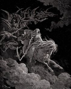 VISION OF DEATH, Gustave Dore Religious & Inspirational CANVAS PRINT 24x29 in. #Vintage