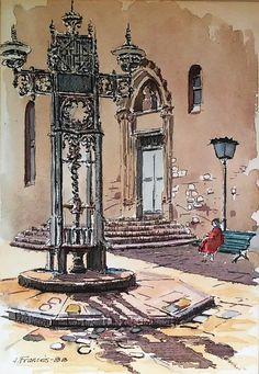 Plaça de Sant Pere (Barcelona), Joaquim Francés. Acuarela+tinta / watercolor+ink