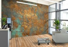 The 'Sea Plate' wallpaper design adds character to any room SP> this could look stunning in an otherwise neutral room with dark furniture and copper.