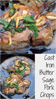 Butter Sage Pork Chop Recipe- Crispy sage and garlic top succulent thick cut bone-in pork chops prepared in cast iron. | #castironcooking | www.savoryexperiments.com