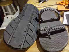 Tire Sandals with braided paracord