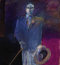 Nathan Oliveira (American, Man with a Hat, Cane and Glove, Oil on canvas, 51 ½ x 47 ½ in. Bay Area Figurative Movement, Art Database, Renaissance Art, Figure Painting, American Artists, Figurative Art, Creative Art, Amazing Art, Oil On Canvas